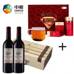 中粮中茶海堤红茶叶礼盒+中粮进口希拉干红葡萄酒