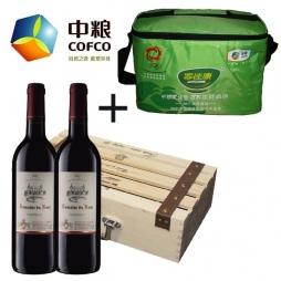 中粮进口希拉干红葡萄酒+中粮家佳康尚品猪肉礼盒