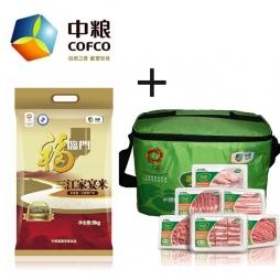 中粮家佳康尚品猪肉礼包+中粮福临门三江家宴米